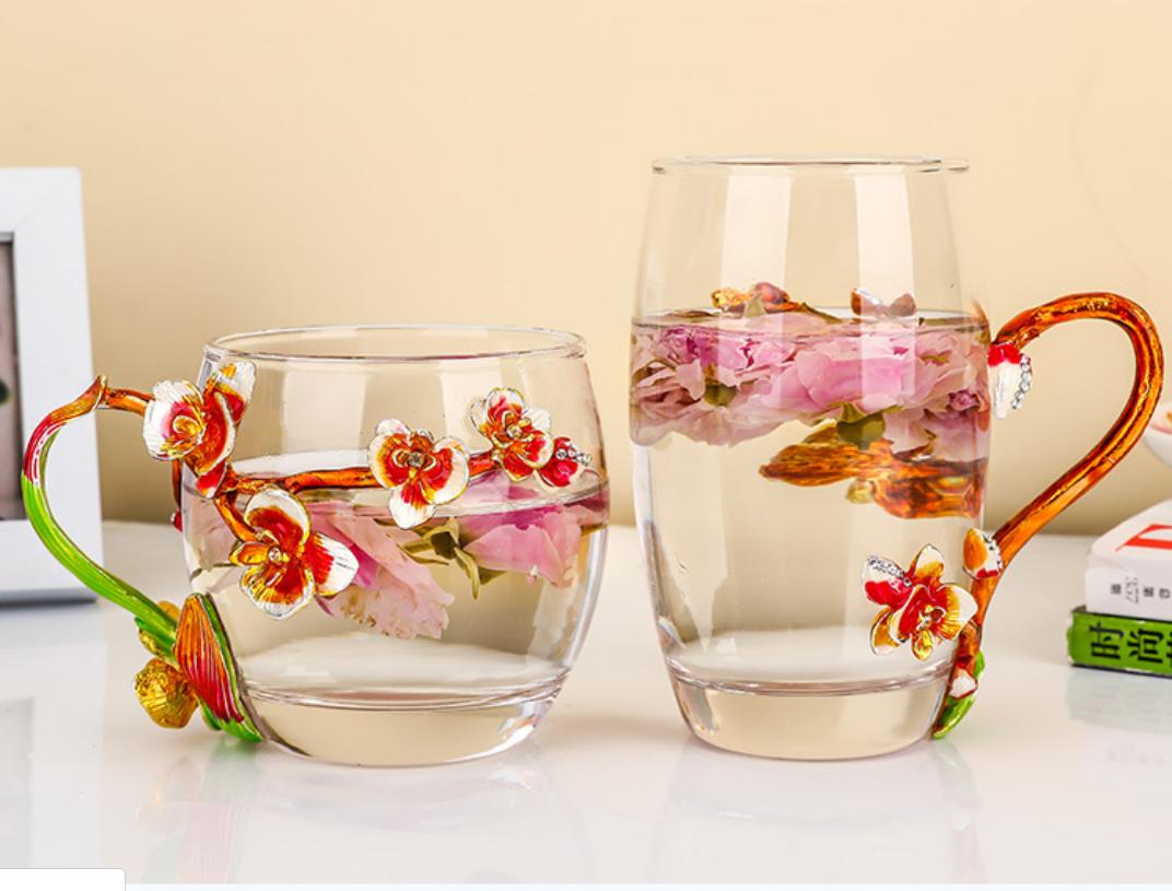 创意花茶杯  办公室女花茶 牛奶杯套装 高温水晶玻璃杯 欧式花茶杯 森意花茶杯