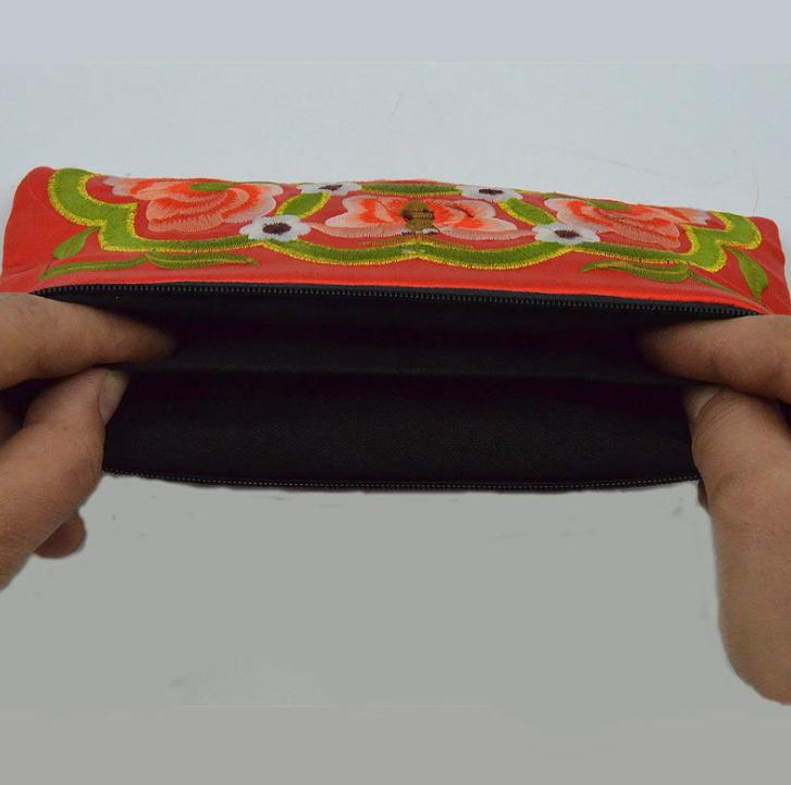 民族特色牡丹花手拿收纳包 出国外送礼品 迷你手机零钱包双面刺绣