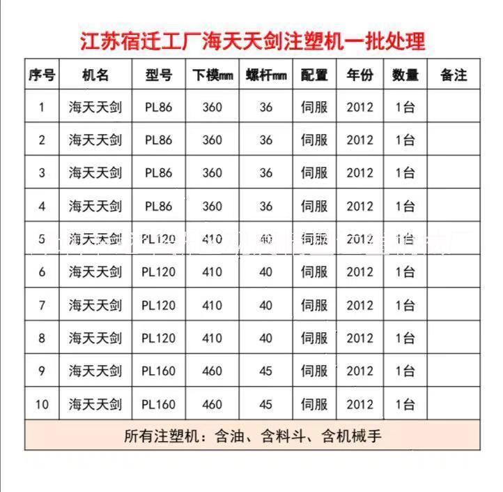 转让江苏省宿迁 工厂海天天剑原装伺服注塑机一批,PL86、120、160全部工厂在位,现场出售