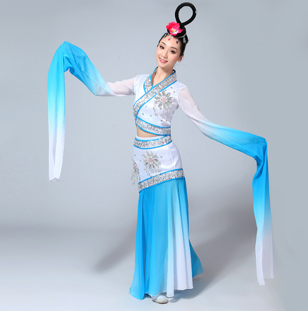 古典舞蹈服装 水袖服装 采薇演出服 嫦娥奔月服装 仙女古典汉服 敦煌飞天