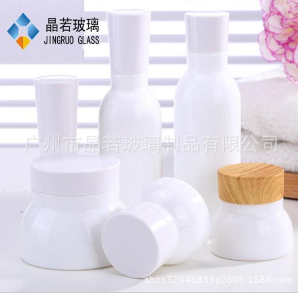 厂家直销 白瓷套装瓶 化妆品玻璃瓶 乳液瓶 膏霜瓶 面霜瓶 定制加工厂家