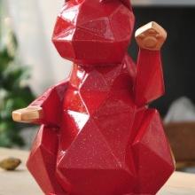 家居办公装饰树脂工艺品 创意菱形招财猫摆件