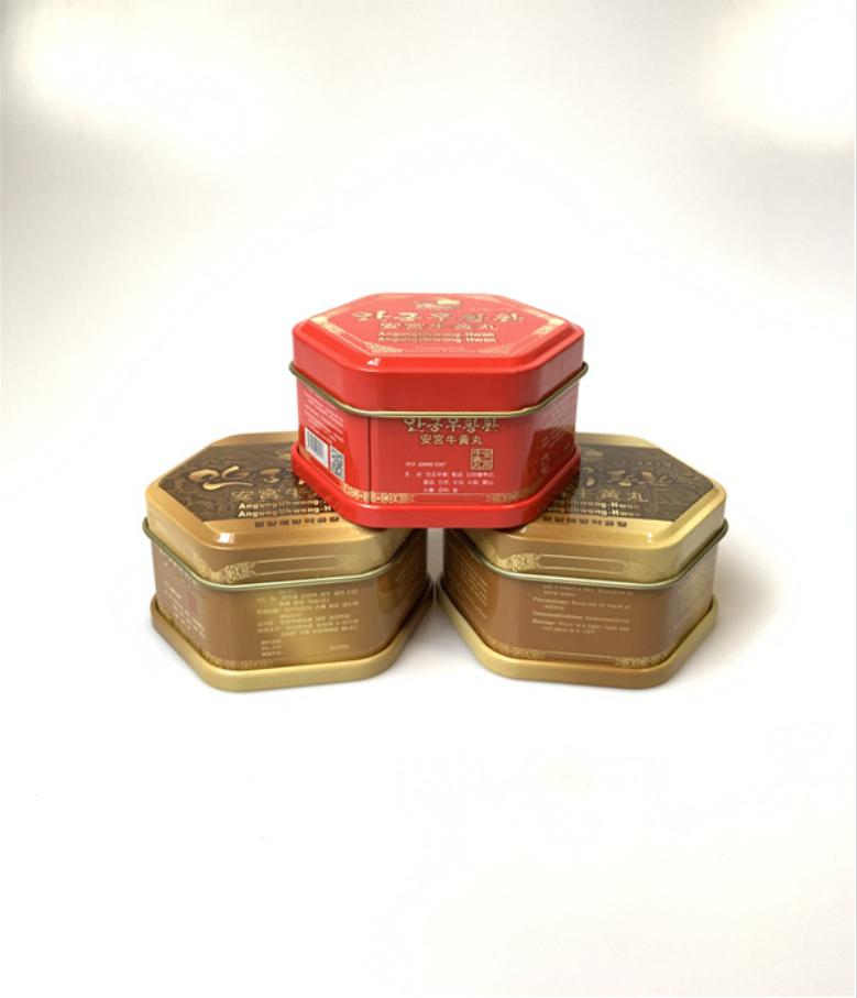 厂家定制药品包装盒 安宫牛黄丸六角形铁盒 六角罐马口铁金属盒 安徽定制药品包装盒
