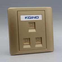 三位五类网络面板三孔网线网口宽带插座金色86型通用三口电脑墙插图片