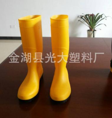 纯色高筒黄帮黑底亮面雨靴图片/纯色高筒黄帮黑底亮面雨靴样板图 (4)